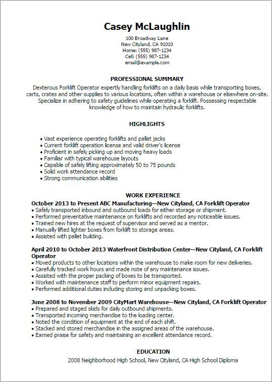 forklift driver resume template resume sample. Black Bedroom Furniture Sets. Home Design Ideas