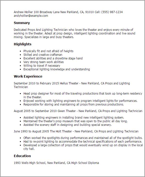 Lighting Technician Job Description