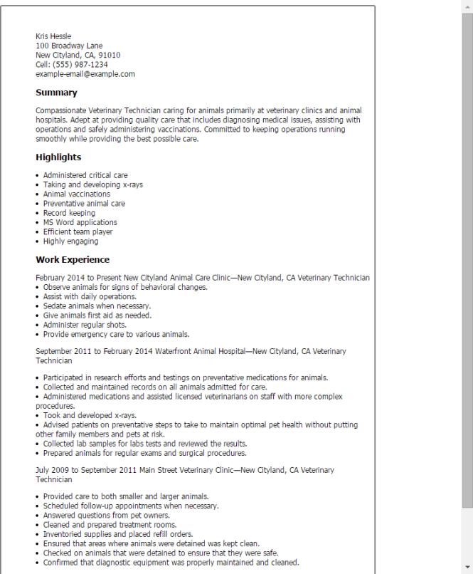 Veterinary Resume Templates - Resume Sample