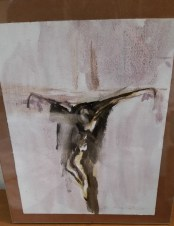 "1975 water color 18"" x 12"" Crucifix"