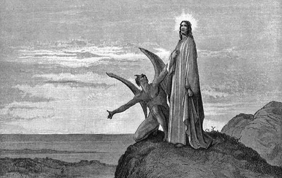 """le tenazioni di Cristo di Gustave Dorè. Il tizio cornuto sembra chiedere """"Non riesci a vedere la corvatura?"""""""
