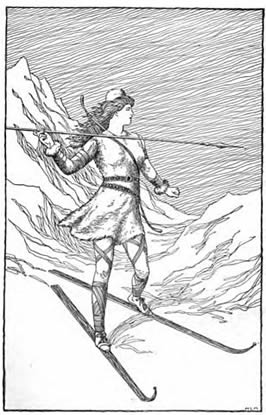 a human figure skiing with a spear to hunt with