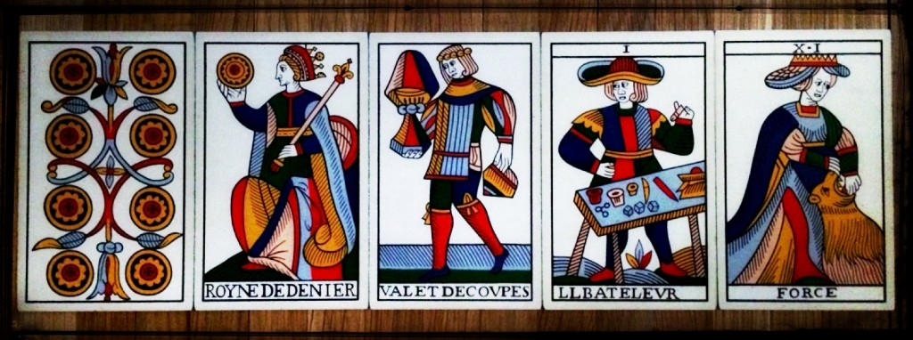 Jean Noblet Marseille Tarot, 1650, as reconstructed by Jean-Michel Flornoy (Photo: Camelia Elias)