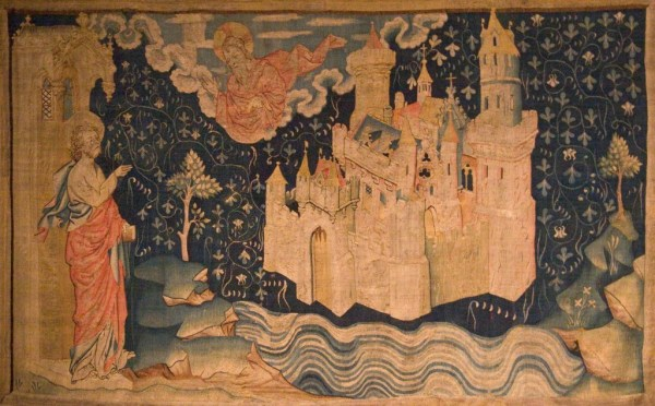 John of Patmos watches the descent of the New Jerusalem from God in a 14th century tapestry.