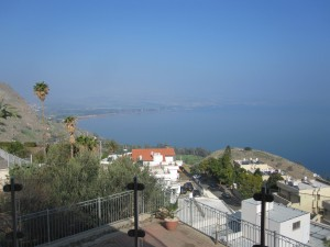 Looking east over Galilee from the LDS branch meetinghouse in Tiberias. The traditional Mount and Church of the Beatitudes are a few short miles off to the left.