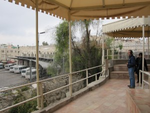 Looking over the fence to the bus depot on the other side of the garden tomb