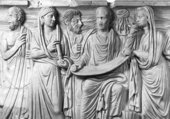 Plotinus with his disciples. Looks like an early Christian relief doesn't it?