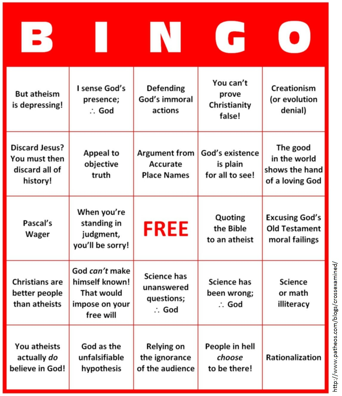 Bob Seidensticker S Handy Bingo Card For Bad Christian