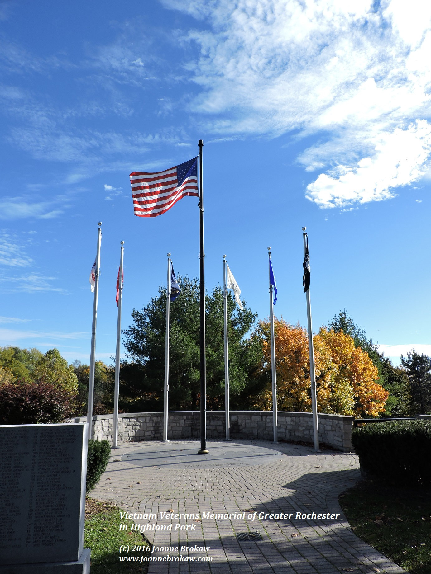 The flags at the Vietnam Veterans Memorial in Highland Park, Rochester, NY.