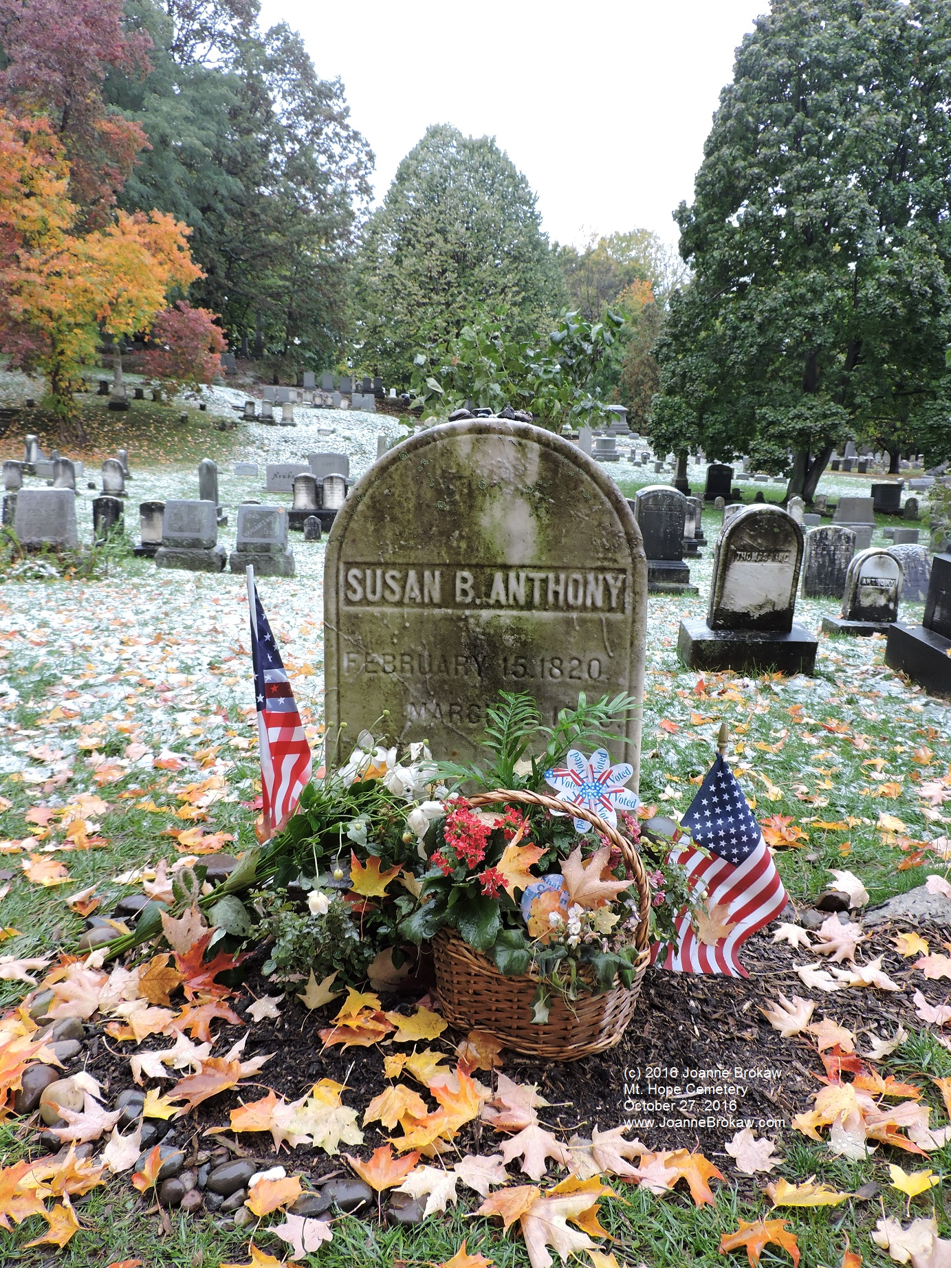 The grave site of Susan B. Anthony, in October 2016.