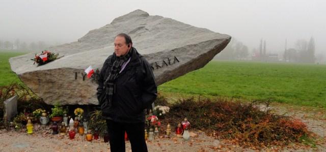 Gov. Mike Huckabee at Blonia Krakowskie, site where millions came to hear Pope John Paul II speak in 1979.