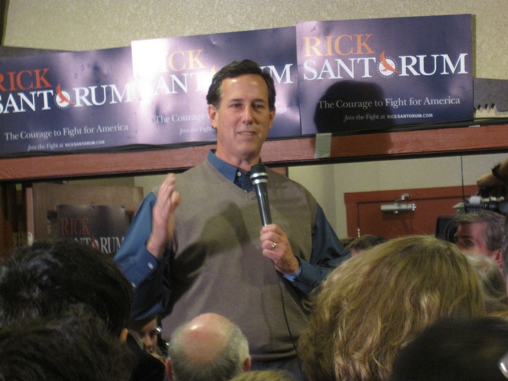 2012 GOP Iowa Caucus winner, President Rick Santorum. Um.