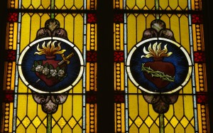Saint_Mary_Catholic_Church_(Philothea,_Ohio)_-_stained_glass,_Immaculate_and_Sacred_Hearts