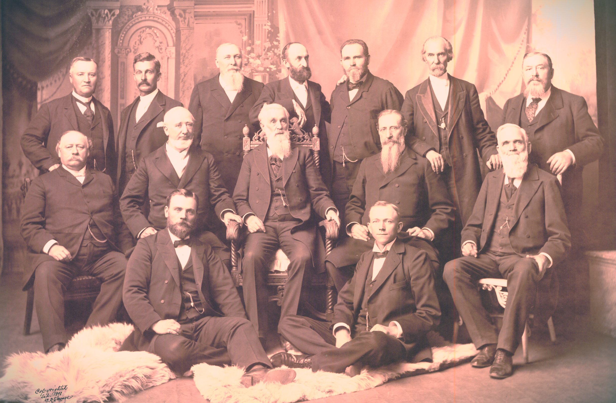 First Presidency and the Twelve, circa 1898 (Wikimedia Commons).