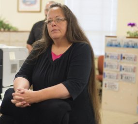 Kim Davis, Clerk of Rowan County, Kentucky, who has defied the Supreme Court in denying marriage licenses to same-sex couples.