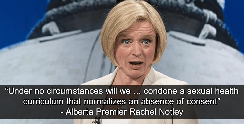 Alberta Premier Rachel Notley Rejects Catholic School Sex-Education Plan That Allows For Marital Rape (Image via Twitter)