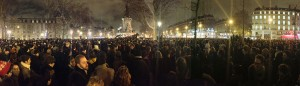 Demonstrators gather at the Place de la République in Paris on the night of the attack.