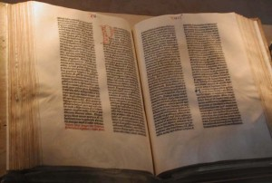 """Gutenberg Bible"" by Raul654. Licensed under CC BY-SA 3.0 via Wikimedia Commons - http://commons.wikimedia.org/wiki/File:Gutenberg_Bible.jpg#/media/File:Gutenberg_Bible.jpg"