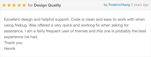Excellent design and helpfull support. Code is clean and easy to work with when using firebug. Was offered a very quick and working fix when asking for assistance. I am a fairly frequent user of themes and this one is probably the best experience ive had. Thank you - Henrik