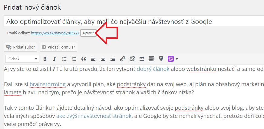 Návštevnosť webu - optimalizácia url adresy