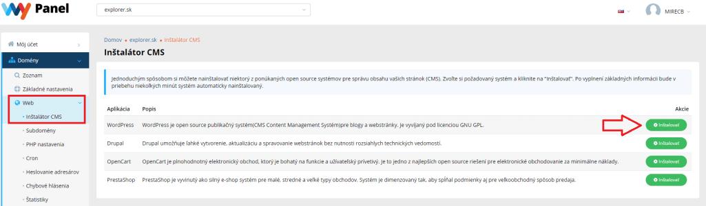 Inštalácia WordPress