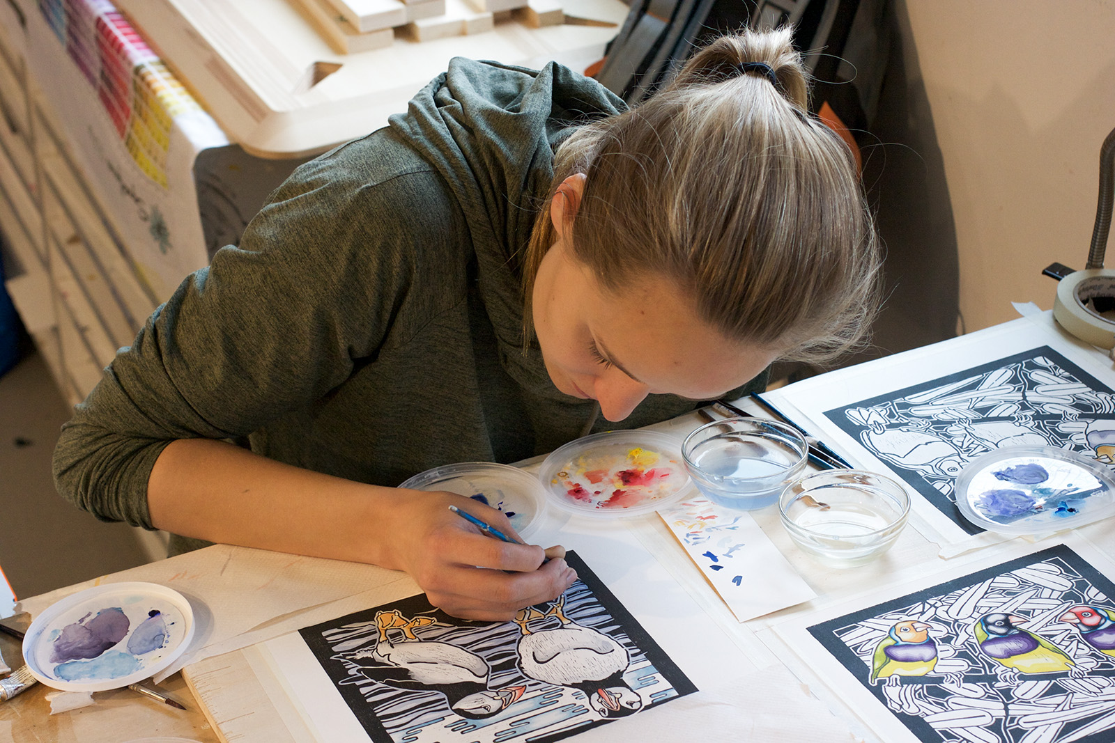 Student drawing in a studio
