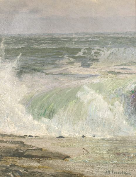 """John Henry Twachtman (United States, 1853-1902)Unknown: Waves Breaking a Coastlineoil on canvasTrust of Brunhild """"Bunny"""" Tetlie Sather '40, distributed to Flaten Art Museum by inheritance from the Richard N. Tetlie '43 Estate2015.7"""
