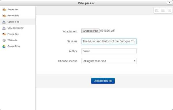Screenshot of Moodle file picker while file is uploaded
