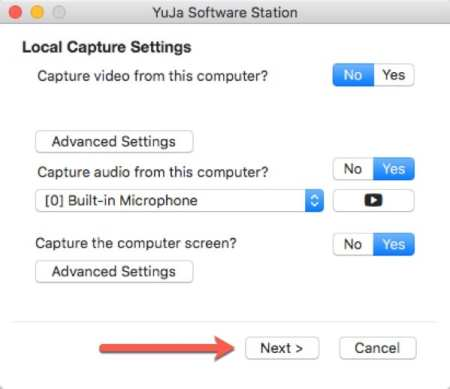 Select Screen and Microphone settings. Select Next.