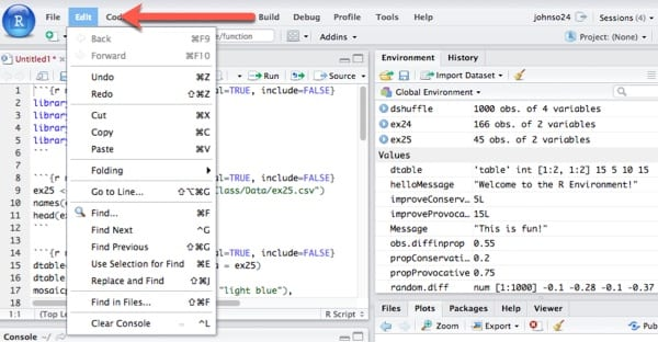 RStudio Edit Menu.