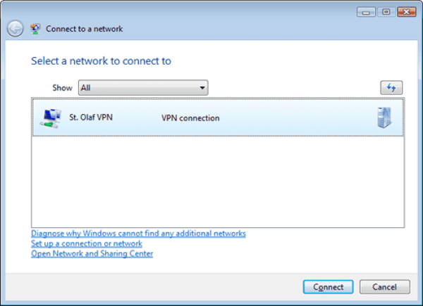 Setting up a VPN Connection on Windows Vista – Information Technology