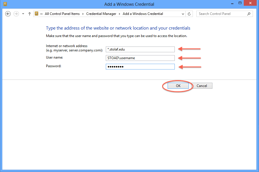 Connecting to the network file storage with Windows 8 and 10