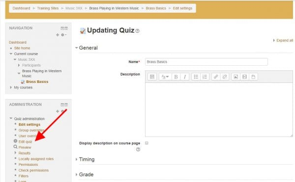"Screenshot of a webpage titled ""Updating Quiz"" with arrow pointing to ""Edit quiz"" link in lower left"