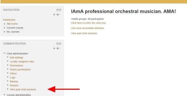 """Screenshot of Moodle chat portal with arrow pointing to """"View past chat sessions"""" link on lower left"""