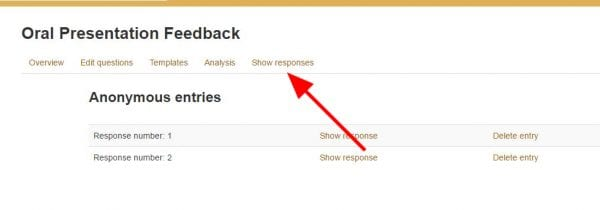 "Screenshot of online feedback results with arrow pointing to ""Show responses"" tab"
