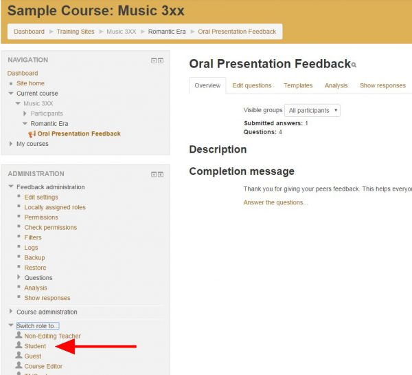 "Screenshot of online feedback editor with arrow pointing to ""Students"" link under ""Switch role to..."" on left"