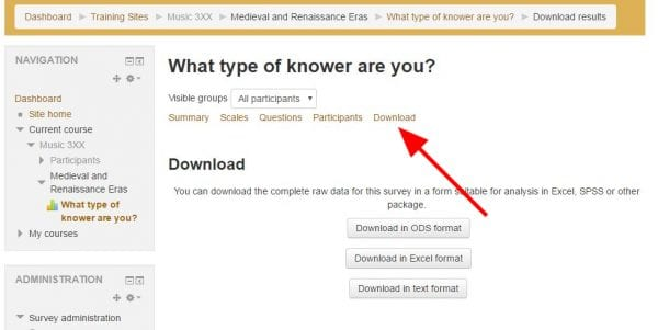 """Screenshot of online survey results download page with arrow pointing to """"Download"""" tab in center."""