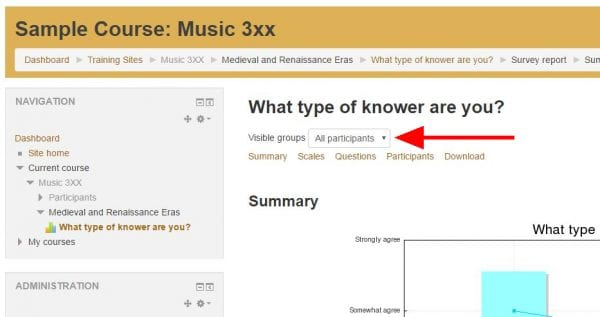 """Screenshot of online survey report with arrow pointing to """"Visible groups"""" drop down menu"""