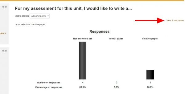 """Screenshot of online choice results with arrow pointing to """"View 1 response"""" link on right"""