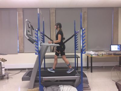Jordan Lutz on treadmill: Synchronized EEG, EMG, and Video Analysis of Walking Gait at Various Levels of Weight-Bearing