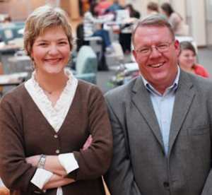Dean of Students Roz Eaton-Neeb '87 (left) and Vice President of Student Life Greg Kneser (right)
