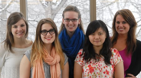 St. Olaf College students (from left) Kristina Haugen '13, Juliette Gibes '14, Claire Petchler '14, Haiyun Tang '13, and Caitlin Owsley '14 (along with Sijia Wei '14 and Mandy Sirek '13, who are not pictured) recently presented their research at the National Student Nurses Association Annual Convention.