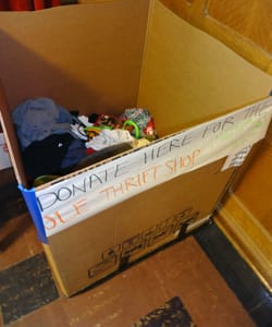An Ole Thrift Shop collection box in Mellby Hall is already gathering donations.