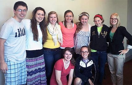Organizers of the Take Back the Tap campaign include (standing, from left) Will Lutterman '15, Kate Panning '15, Laila Rode-Simon '15, Sarah Kretschmann '15, Cassie Paulsen '15, Emma Chapman '15, Sonja Helgeson '15, (kneeling, from left) Laura Bretheim '14, and Christina Herron-Sweet '12.