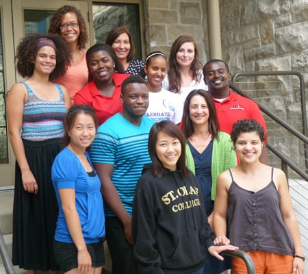 Students conducting research this summer as part of the St. Olaf McNair Scholars Program include (front row, from left) Zoua Xiong, Gabriella Coll, (second row, from left) Amanda Moua, Erick Marigi, Associate Professor of Education and McNair Research Coordinator Heather Campbell '90, (third row, from left) Britt Letcher, Chiamaka Isiguzo, Lansa Dawano, Guttu Maskalo, (fourth row, from left) Zoey Slater, McNair Scholars Program Director Janis Johnson, and McNair Scholars Program Assistant Director Melissa Hinderscheit '04.