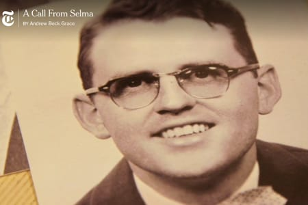 A photo of James Reeb '50 as shown in a documentary by Andrew Beck Grace.