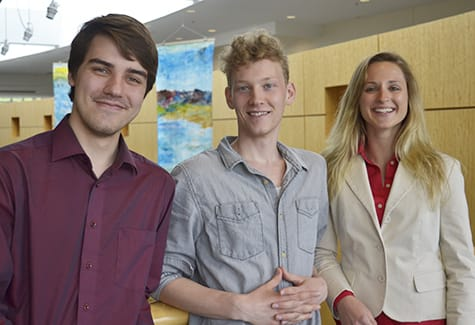 St. Olaf students (from left) Jacob Caswell '17, Cameron Rylander '16, and Nathalie Kenny '16 are working with Assistant Professor of Chinese Ka Wong this summer to examine environmental awareness in China. Wong has received four grants to support his teaching and research.