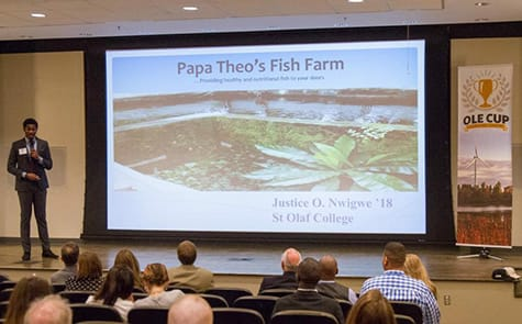 "Judges at this year's Ole Cup listen to Justice Nwigwe '18 present his plans for a fish farm in Nigeria. His proposal received the competition's ""Best Social Venture"" award and a grant to help make it a reality."