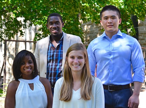 St. Olaf graduates (clockwise, from top left) Roger Ntawukulityayo, Zequn (Charlie) Li, Laura Schmiel, and Mariah DuBose are some of the most recent Oles to have successfully landed careers in the consulting field.