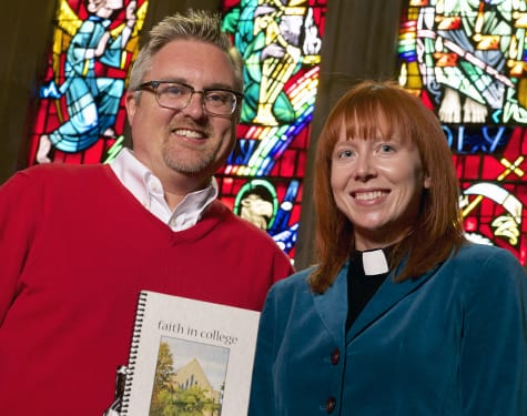 """St. Olaf College Pastor Matthew Marohl and Associate College Pastor Katie Fick with """"Faith in College"""" — the newest edition of the devotion book they write each year."""